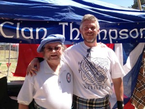 Lowell Thompson joined us at the Clan tent, during a break in the athletic competition at which he always does well.