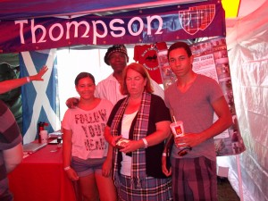 Byron Thompson and his family stopped by to chat at the clan tent, as they have done many times in the past.