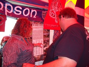Visitors to the clan tent were fascinated by the poster describing Reiver families.