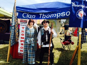 Genealogist Maggie Jones and Colorado Commissioner Michael Thompson welcome attendees to the Thompson clan tent at Colorado Tartan Day 2014.