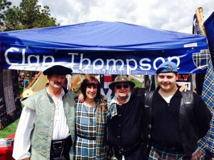 From left, Bob Thompson, Clan Genealogist Maggie Jones, Colorado Commissioner Michael Thompson, and Timothy Thompson, attending the Pikes Peak Celtic Festival in Colorado Springs Colorado.